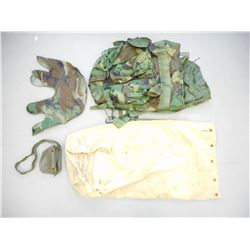MILITARY TYPE CAMO BACK PACK AND HELMET COVER