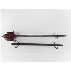 BRITISH OFFICERS BASKET HILTED SWORD WITH SCABBARD