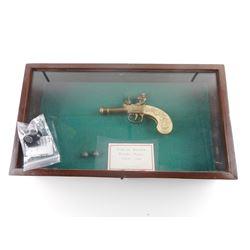 SHADOW BOX AND REPLICA 1760'S BOXLOCK FLINT LOCK PISTOL WITH CASE