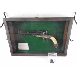 SHADOW BOX AND REPLICA BELGIAN GRAVITY FED PISTOL WITH CASE