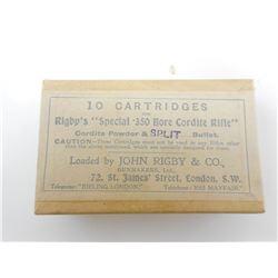 RIGBY'S SPECIAL .350 BORE CORDITE RIFLE AMMO