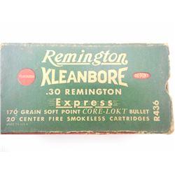 REMINGTON KLEANBORE .30 REM EXPRESS AMMO