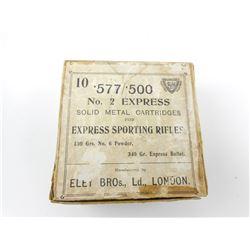 ELEY BROS. .577/.500 NO 2 EXPRESS AMMO