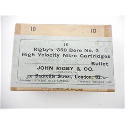 RIGBY'S .350 BORE NO 2 HIG VELOCITY NITRO CARTRIDGES