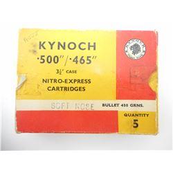 "KYNOCH .500/.465 3 1/4"" CASE NITRO-EXPRESS AMMO"