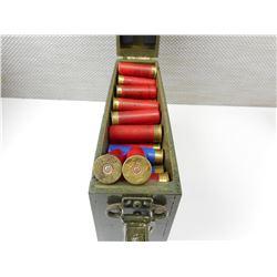 12 GAUGE ASSORTED SHOTGUN SHELLS, IN WOODEN MILITARY LOOKING BOX WITH HANDLE