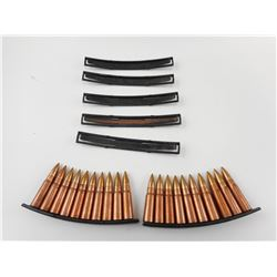 7.62 X 39 COPPER WASHED AMMO, ON STRIPPER CLIPS, 5 EXTRA STRIPPER CLIPS