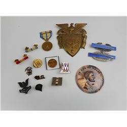 US MILITARY MEDALS, BADGES, COMMERATIVE COINS ETC.