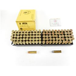 ASSORTED .38 SPECIAL AMMO, WINCHESTER AND UMC