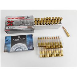 WINCHESTER & FEDERAL .303 AMMO, BRASS CASES