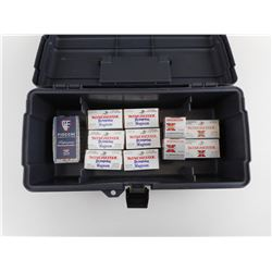 22 WINCHESTER MAGNUM ASSORTED AMMO IN PLASTIC TOOL BOX