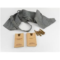 223 FMJ AMMO, SOME ON STRIPPER CLIPS, IN COTTON BANDOLEER