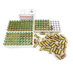 45 AUTOMATIC RELOADED AMMO, BRASS CASES, SOME WITH BULLETS