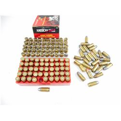 9MM RELOADED AMMO, BRASS CASES, SOME WITH BULLETS