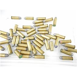 45 COLT RELOADED AMMO, BRASS CASES, SOME WITH BULLETS