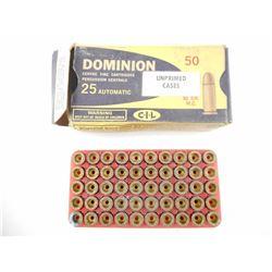 DOMINION 25 AUTOMATIC BRASS CASES