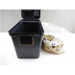 9MM LUGER  BRASS CASES IN PLASTIC PLANO AMMO BOX