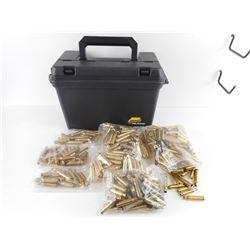 7.62 X 51 BRASS CASES, IN PLANO PLASTIC AMMO BOX