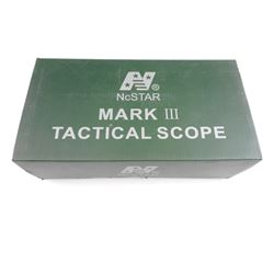 NCSTAR MARK III TACTICAL SCOPE IN BOX WITH INSTRUCTIONS.