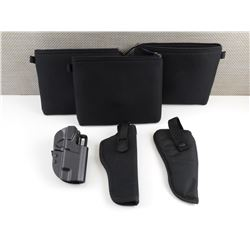 ASSORTED HOLSTERS AND HAND GUN CASES