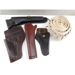ASSORTED LEATHER HOLSTERS AND AMMO BELT