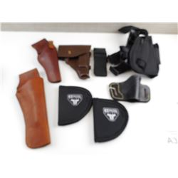 ASSORTED LEATHER AND NYLON HOLSTERS