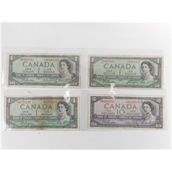 CANADIAN ONE DOLLAR BILLS, 10 DOLLAR BILLS, DATED 1954