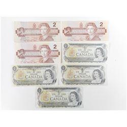 CANADIAN ONE DOLLAR BILLS AND TWO DOLLAR BILLS