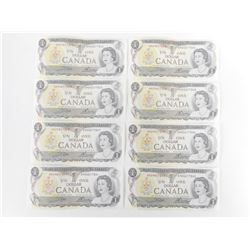 CANADIAN ONE DOLLAR BILLS, SOME NUMBERS RUN IN SEQUENCE