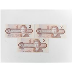 CANADIAN TWO DOLLAR BILLS, NUMBERS IN SEQUENCE