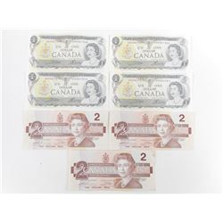 CANADIAN ONE DOLLAR BILLS, TWO DOLLAR BILLS, NUMBERS RUN IN SEQUENCE