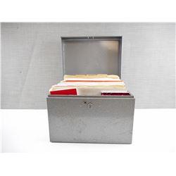 METAL FILING BOX FULL OF CARTRIDGE CATALOGUES