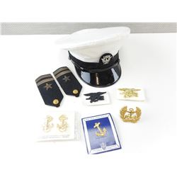 US NAVY PEAKED CAP AND BADGES