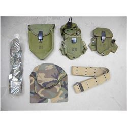 ASSORTED MILITARY HATS AND POUCHES