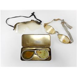 WWII BRITISH MOTOR TRANSPORT GOGGLES AND TIN