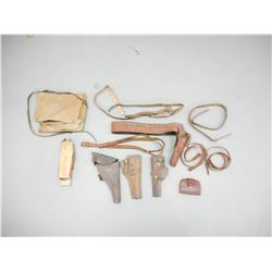 ASSORTED MILITARY HOLSTERS, SLINGS AND BELTS