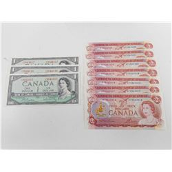 CANADIAN ONE DOLLAR AND TWO DOLLAR BILLS IN SEQUENTIAL SERIALS