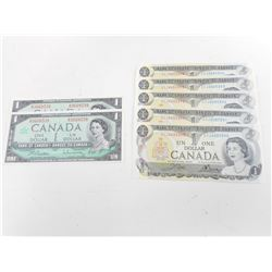 CANADIAN ONE DOLLAR BILLS IN SEQUENTIAL SERIALS