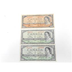 """1954 CANADIAN ONE DOLLAR AND TWO DOLLAR BILLS """"DEVILS FACE"""""""