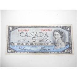 "1954 CANADA FIVE DOLLAR BILL ""DEVILS FACE"""