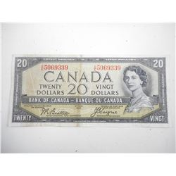 "1954 CANADA TWENTY DOLLAR BILL ""DEVILS FACE"""