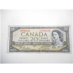"1955 CANADA TWENTY DOLLAR BILL ""DEVILS FACE"""
