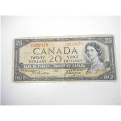 "1956 CANADA TWENTY DOLLAR BILL ""DEVILS FACE"""