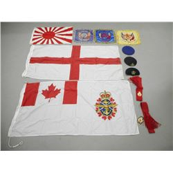 ASSORTED LEGION FLAGS, BERRET'S AND SASH'S