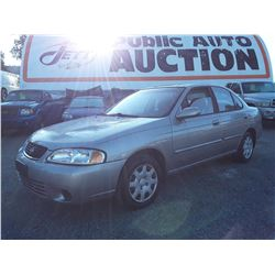 "A2 --  2001 NISSAN SENTRA  , Brown , 120844  KM's ""NO RESERVE"""