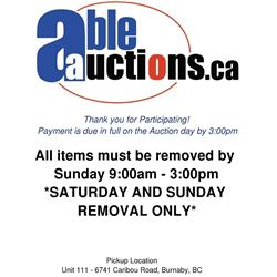ALL ITEMS MUST BE REMOVED BY SUNDAY 3:00PM