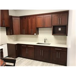 "15 PIECE ""CHERRY S"" KITCHEN CABINET SET INC. 5 BOTTOM CABINETS, 8 TOP CABINETS, MICROWAVE CABINET,"