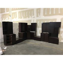 "20 PIECE ""ESPRESSO"" KITCHEN CABINET SET INC. 8 BOTTOM CABINETS, 10 TOP CABINETS, MICROWAVE"