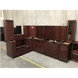 18 PIECE  CHERRY  KITCHEN CABINET SET INC. 5 BOTTOM CABINETS, 12 TOP CABINETS, MICROWAVE