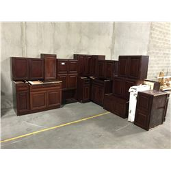 21 PIECE  CHERRY  KITCHEN CABINET SET INC. 5 BOTTOM CABINETS, 14 TOP CABINETS, MICROWAVE